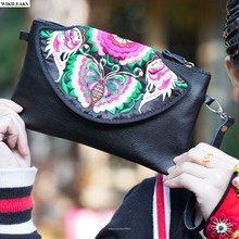 women ladies vintage purses and handbags black leather clutch embroidered hand bag retro messenger handmade small bolsa satchel