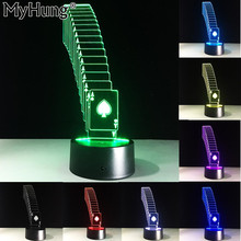Poker 3D Funny LED Night Light Decoration Lamp Shuffle Light Color Changing Bedroom Atmosphere Light USB Smart Touch Baby Gifts