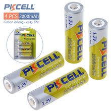 4pcs! Pkcell 2000mAh 1.2V Ni-Mh AA Rechargeable Battery Real High Capacity NiMh AA Batteries Set With 1000 Cycle
