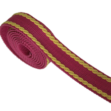 plum/yellow color high quality heavy duty cotton webbing belt tape for sale(China)