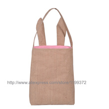 20pcs Cotton Lined Linen Canvas Easter Gift Bag Rabbit Bunny Ear Shopping Tote Bag Bunny Ears bag Baby Kids