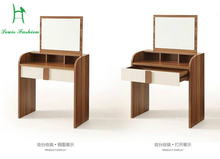 Louis fashion walnut dresser bedroom, small apartment make-up desk, modern simple distribution table, mirror stool,(China)