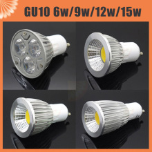 6W 9W 12W 15W High Power Aluminum Dimmable Led Spot Light GU10 COB Spotlight Bulb Lamp AC 220V 110V 85-265V