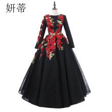 Ball-Gown Prom-Dresses Evening-Dress Neckline Long-Sleeve Black Flowers Applique Vintage