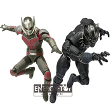 "2kinds 6"" Cartoon super hero Captain america Ant Man Black Panther cool men pvc action figure doll model toy"