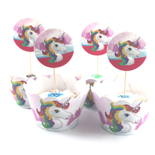 12 wraps+12 topper Unicorn Party Cupcake Wrappers Toppers Baby Shower Kids Birthday Party Cake Decoration Supplies(China)