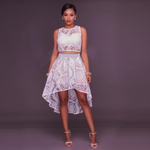 Women Fashion Clothes Solid Sexy Hollow Out See-through Dresses Sleeveless Dinner Club Wear Party Formal Dress Female Clothing