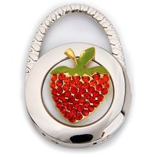 Round Metal Folding Rhinestone Strawberry Handbag Bag Purse Hook Hanger Holder