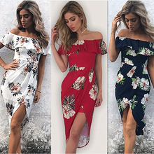 Sexy Women summer Dress Cute Off Shoulder Sleeveless Vestidos Casual Beachwear Cocktail Party Floral High Split Clothes Dresses