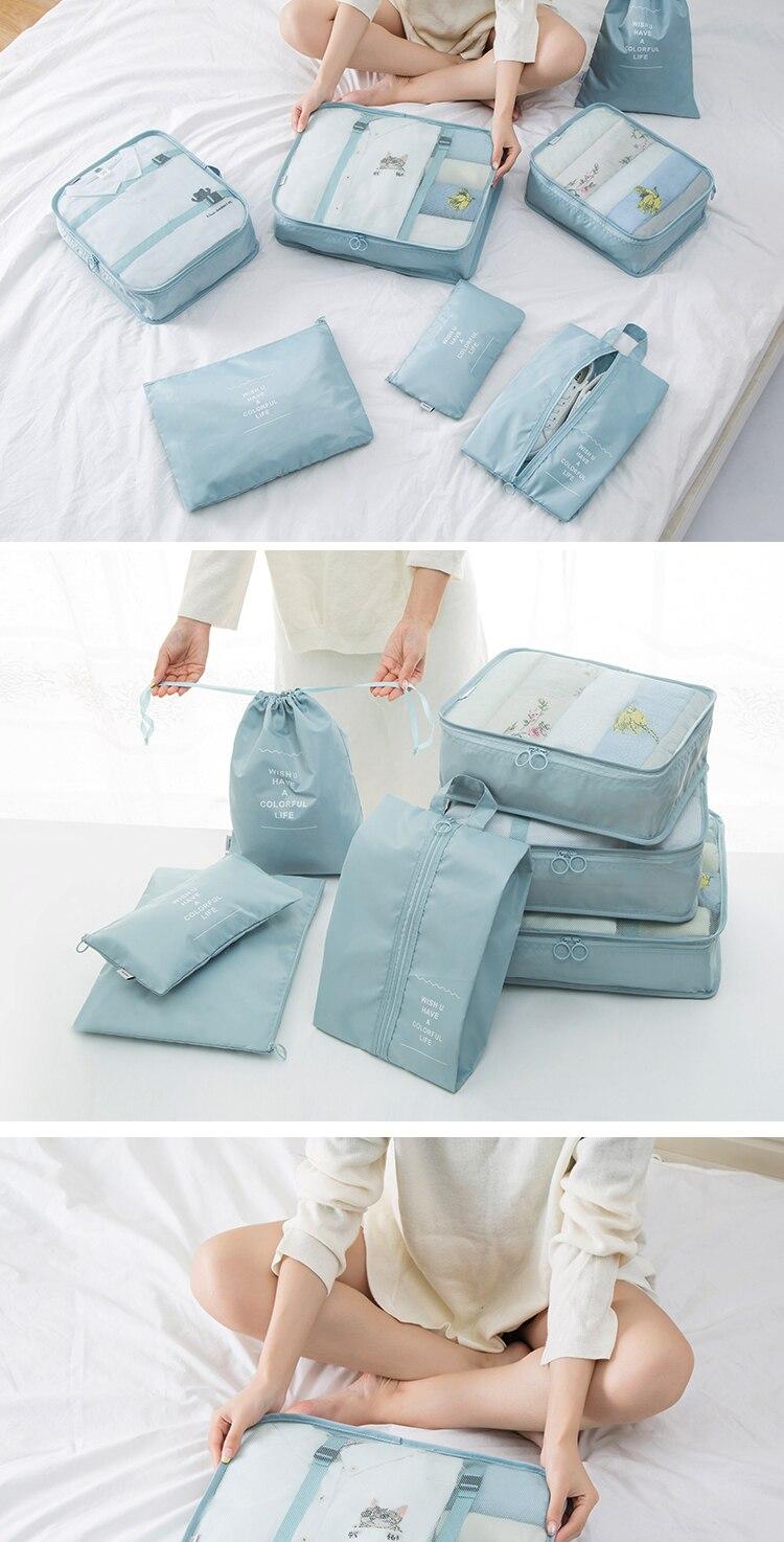 2018 New Korean Stylish Travel Organizer 7PCSset Travel Bag  Female Storage Bag For Waterproof Portable Storage Case Accessorie 1
