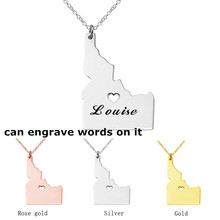 Custom USA Idaho Map Necklace Stainless Steel, Can Engrave Words On It,Personalized Map Jewelry,Name Gifr For Her His(China)