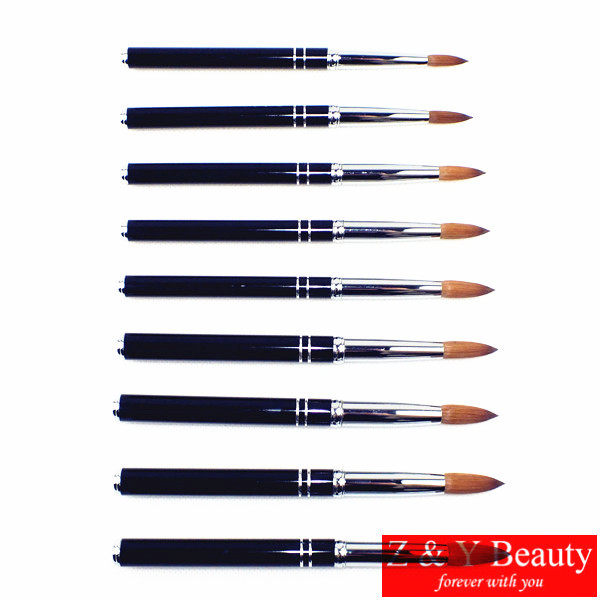 SIZE 24, 100% Kolinsky Nail Brush, Acrylic Nail Beauty Brush with Metal Handle Nail Art Design Painting Pen Brush Tool K17012-24<br>