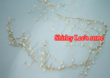 24pcs X 5' Ivory pearl bead gold wire garland,WEDDING decoration,Cake decoration Flower Vine etc. *FREE SHIPPING BY EMS*(China)
