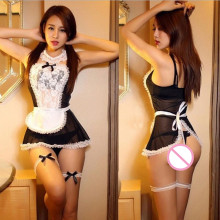 Women Sexy Lingerie Dress France style maid uniform Sheer Lace Costume Cosplay French Maid Sexy Lingerie Outfit Fancy Underwear(China)