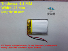 (free shipping)652530 400mah lithium-ion polymer battery quality goods quality of CE FCC ROHS certification authority