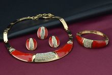 Promotional Fashion African Nigeria Gold Jewelry Sets Red Imitation Jewel Party Necklace Bangle Bracelet Earring Ring
