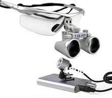 2.5x Dental Surgical Binocular Loupes + LED Dental Head Light lamp