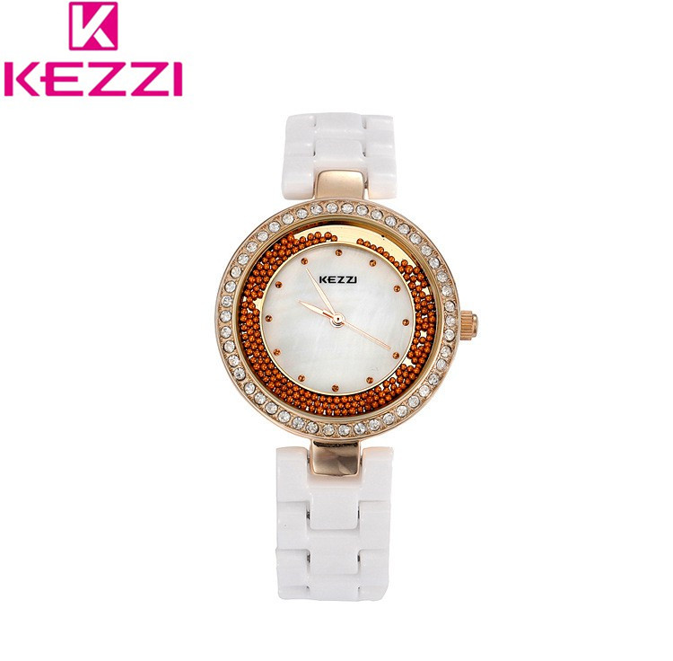 KEZZI Brand Women Quartz Watch Ceramic Lady Watch Rhinestone Shell Slender Watchband Womens Favorite Style Relogio Feminino<br><br>Aliexpress