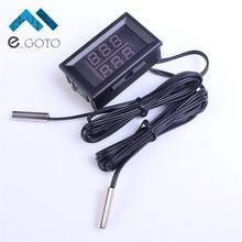 DC4-28V Red+Blue Dual Display Digital Thermometer w/ NTC Waterproof Metal Probe Temperature Sensor Temperature Meter Detector