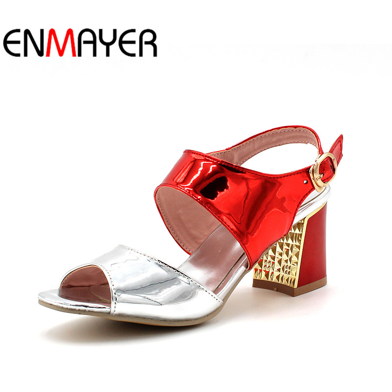 ENMAYER Buckle Strap Women High Heels Soft Leather Party Bright Summer Fashion 3 Colors Blue Sandals Shoes Woman Size 34-43<br>