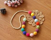 Free Shipping Candy Colors Crochet Round Wooden Beads Necklace For Women  V685214520