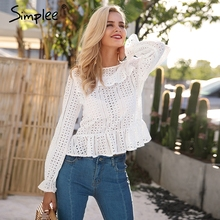 Buy Simplee Hollow long sleeve white blouse shirt 2017 autumn winter sexy female blouse women top Elegant backless button blusas for $14.99 in AliExpress store