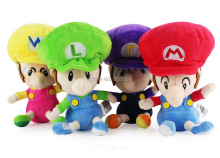 "Free Shipping EMS 100/Lot 4 Styles Mario Luigi Wario Waluigi BABY 6"" Super Mario Bros. Plush Doll Soft Gifts"
