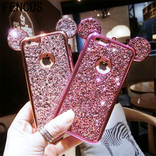 Luxury New 3D Crystal Mickey Ears Phone Case Full Diamond Silicone Back Covers For iphone 7plus 7 6S 6plus with Phone Lanyard