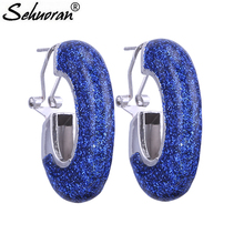 Sehuoran Zinc Alloy Big Stud Earrings For Woman Flash Shell With Drip Oil Long Earrings Trendy Fashion Jewelry Wholesale(China)