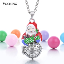20pcs/lot Vocheng Angel Ball Snowflake Cage Prayer Box Christmas Pendant Necklace with Stainless Steel Chain VA-105*20(China)