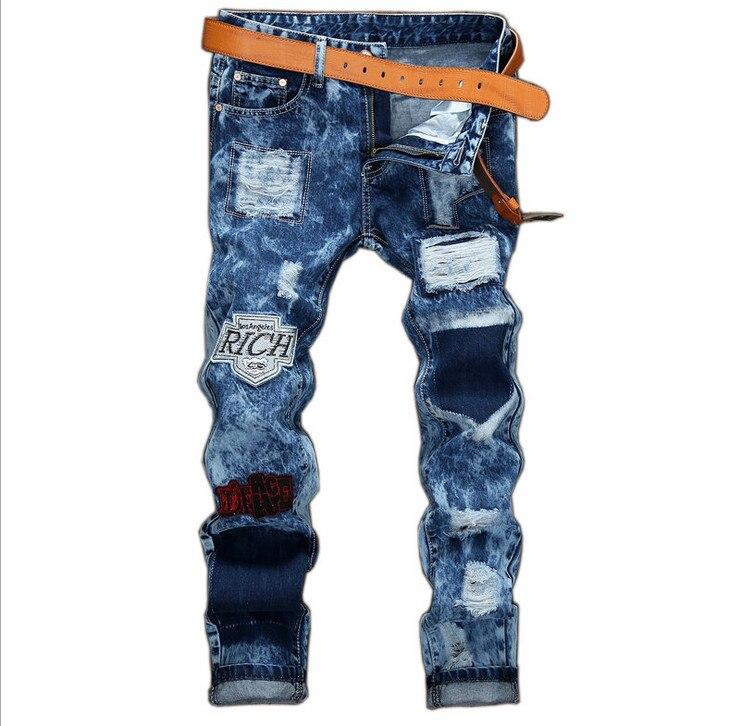 GMANCL mens biker jeans Design Fashion Biker Runway Hip Hop Slim Jeans For Men Ripped Rap Cotton Good Quality Motorcycle JeansÎäåæäà è àêñåññóàðû<br><br>