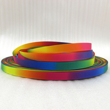 "5Y43713 3/8""(9mm) Rainbow ribbon high quality printed polyester ribbon 5 yards, DIY handmade materials, wedding gift wrap(China)"
