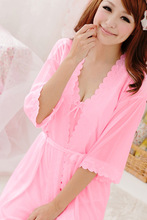 Hot Sale Pregnant women sling gown bathrobe ice silk pajamas woolly nightgown household to take