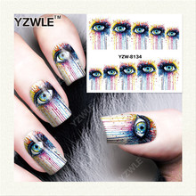 YZWLE 1 Sheet DIY Nails Art Decals Water Transfer Printing Stickers For Manicure Salon YZW-8134