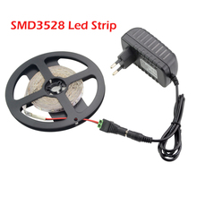 2016 New LED Strip 3528 5m 300LEDs (60LEDs/m) Single White / Red / Blue / Green / Warm White Rope Light + 12V 2A Power Adapter