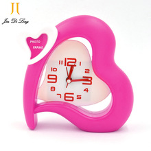 * Special Offer  Morning Clock Heart Shape Alarm Clocks,Red/Pink Fashion Home Decoration Desk Clock With Small Photo Frame