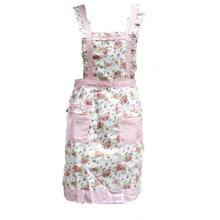 HGHO- 100% Good Rose Bud Grid Pattern Kitchen Cooking Apron Restaurants Home