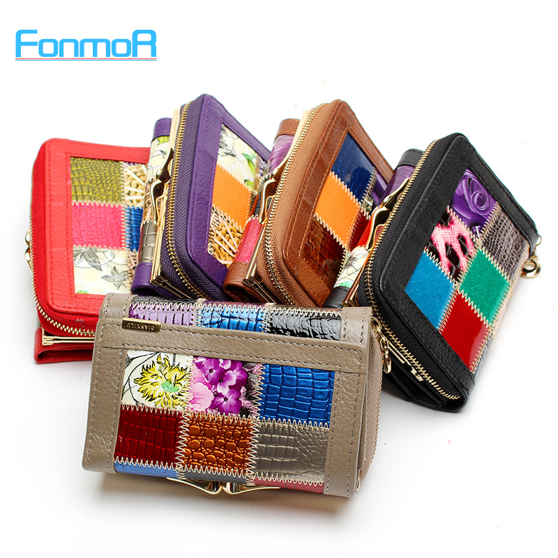 FONMOR Fashion Genuine Leather Women short Wallets Patchwork Hasp Coin Pocket Female Clutch Carteira Feminina Women Purse Wallet<br><br>Aliexpress