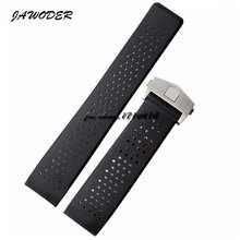 JAWODER Watch band 22mm 24mm Stainless Steel Silver Deployment Black Diving Silicone Rubber Holes Watch Strap For T-A-G WATCH