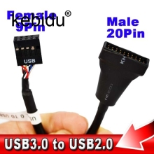 Kebidu 13CM Mainboard Motherboard USB 3.0 20 Pin male to USB 2.0 9 pin Female Housing Cable Extension Adapter Cable(China)