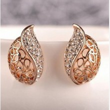 Semi-fine imitation shaped buds lady temperament full of  stud earrings free shipping  4ED133