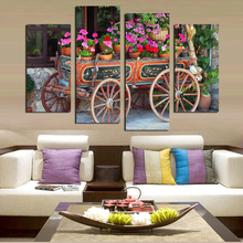 2017 4 pcs artistic canvas paintings nature flowers landscapes vehicles mordernhome decor art wall  prints picture unframed