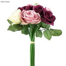 1 Bunch Silk Artificial Flower Time Purple Rose Party Garden Home Wedding Celebrations Public places Festival Decor(China)
