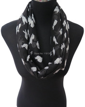 Small Size! Cute Rabbits Bunnies Print Women's Infinity Circle Scarf Soft Lightweight