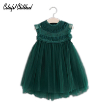 Princess Girls Party Lace Tulle Dress vintage toddler kids new year Children clothing 2-7Yrs Xmas Baby Girls Vest dresses