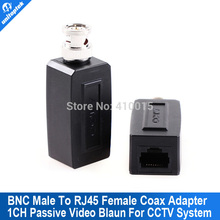 1 Pair CCTV RJ45 video balun UTP/CAT5 BNC Male To RJ45 Converter BNC Male To RJ45 coax adapter Transceiver