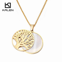 Kalen 2017 New Fashion Jewelry Shell & Stainless Steel Italian Gold Color Tree of Life Pendant Necklace For Women Elegant Gifts