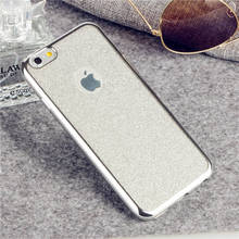 Candy Color Ultrathin Soft TPU Phone Case For iPhone 5 5S SE 6 6s Plus 7 7Plus 8 8Plus Plating 2 in 1 with Glitter film Cover