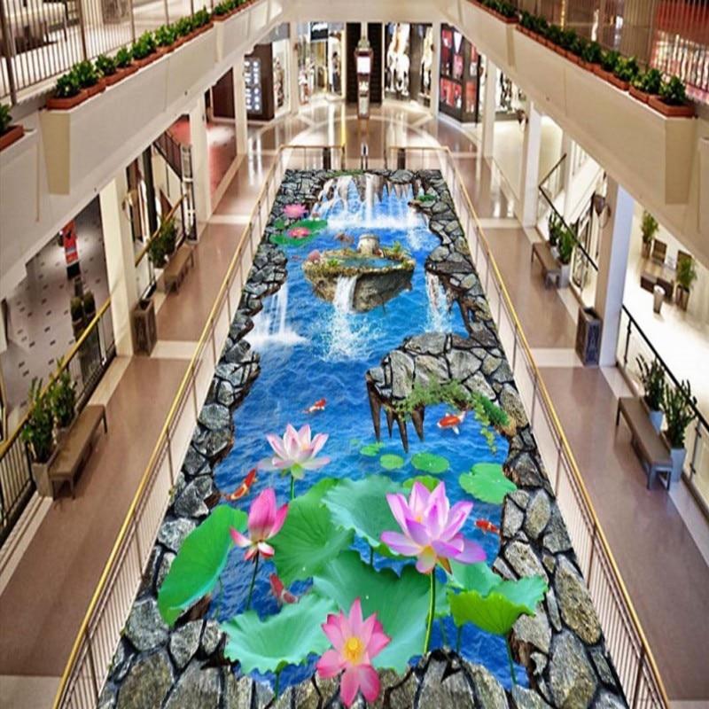 Free Shipping kitchen balcony floor wallpaper Carp Lotus waterfalls 3D flooring mural<br>