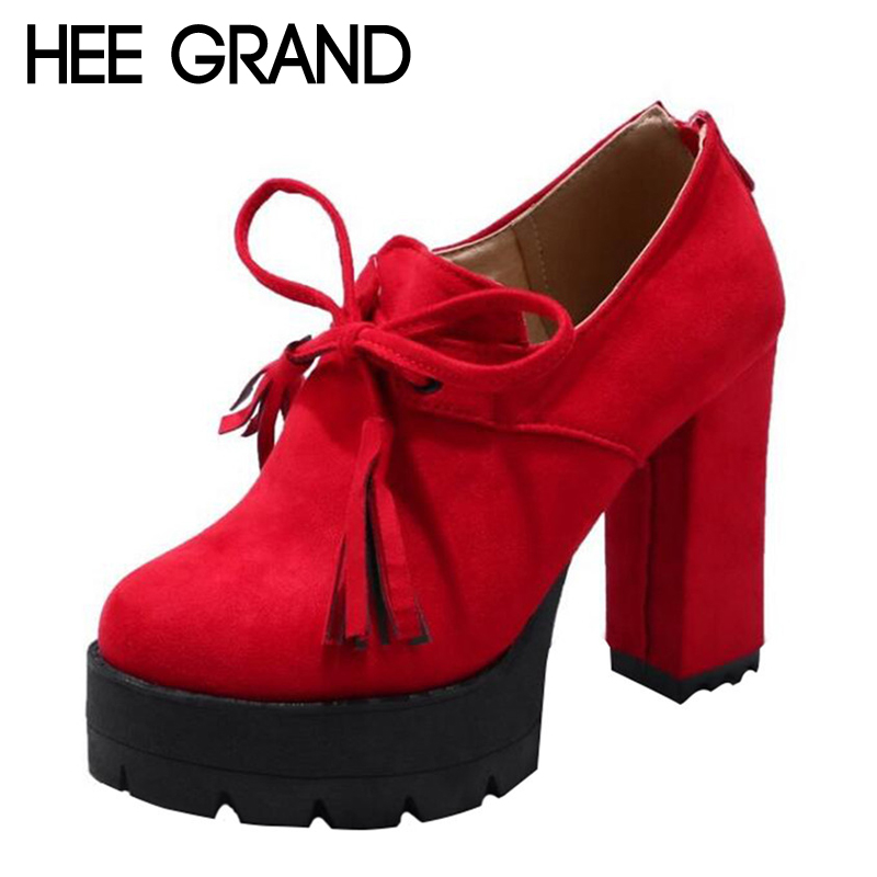 HEE GRAND Women Thick Heel Pumps Flock Vamp Bow-knot Decoration with Zip Women Fashion Boots Big size 35-40 XWX5966<br>